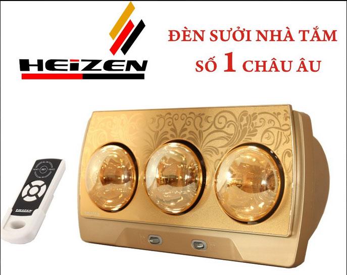 Đèn sưởi nhà tắm Heizen HE-3BR 3 bóng mạ vàng giảm chói chính hãng