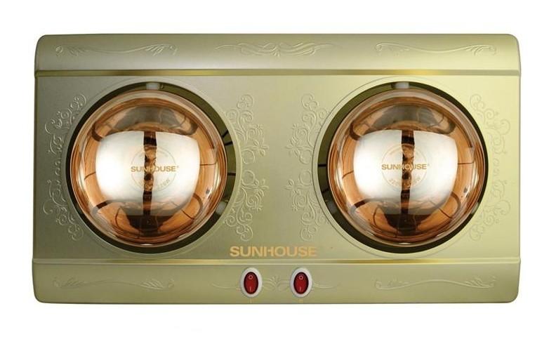 Đèn sưởi nhà tắm Sunhouse SHD3812 2 bóng mạ vàng giảm chói chính hãng