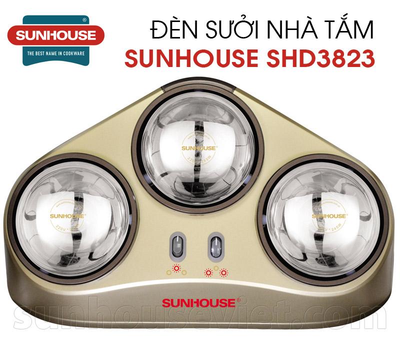 Đèn sưởi nhà tắm Sunhouse SHD3823 3 bóng mạ vàng giảm chói chính hãng