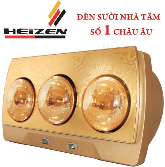 Đèn sưởi nhà tắm Heizen HE-3B 3 bóng mạ vàng giảm chói chính hãng giá trung hàng tốt công nghệ của Đức