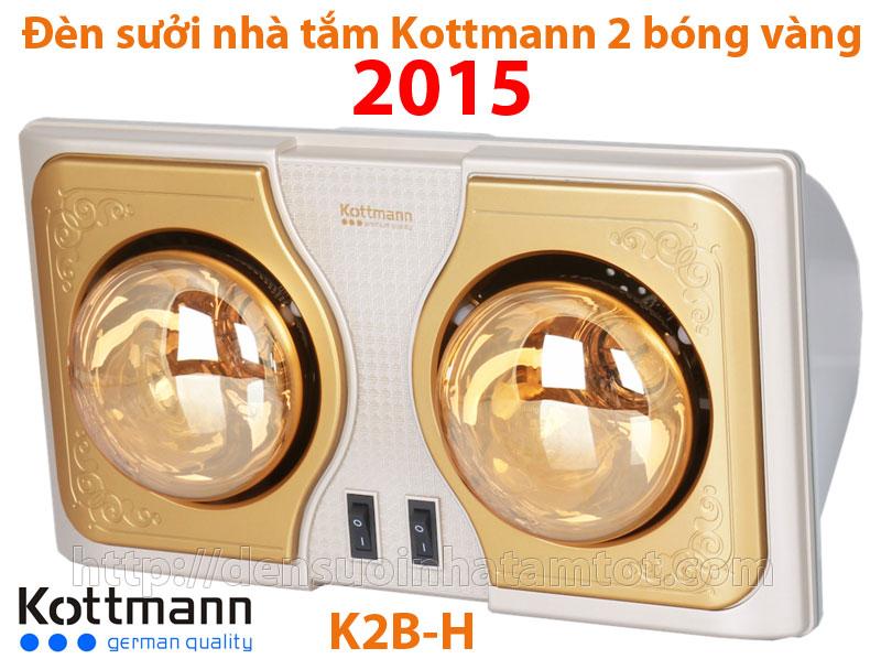 Đèn sưởi nhà tắm Kottmann K2B-H 2 bóng mạ vàng