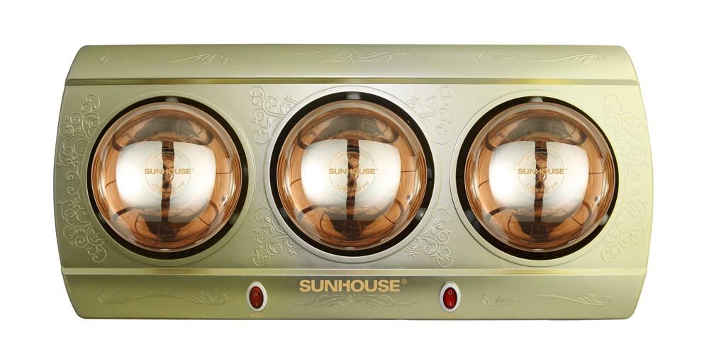 Đèn sưởi nhà tắm Sunhouse SHD3813 3 bóng mạ vàng giảm chói chính hãng