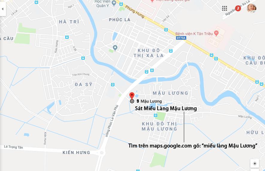 Bản đồ tới cửa hàng số 9 Mậu Lương Vietmart