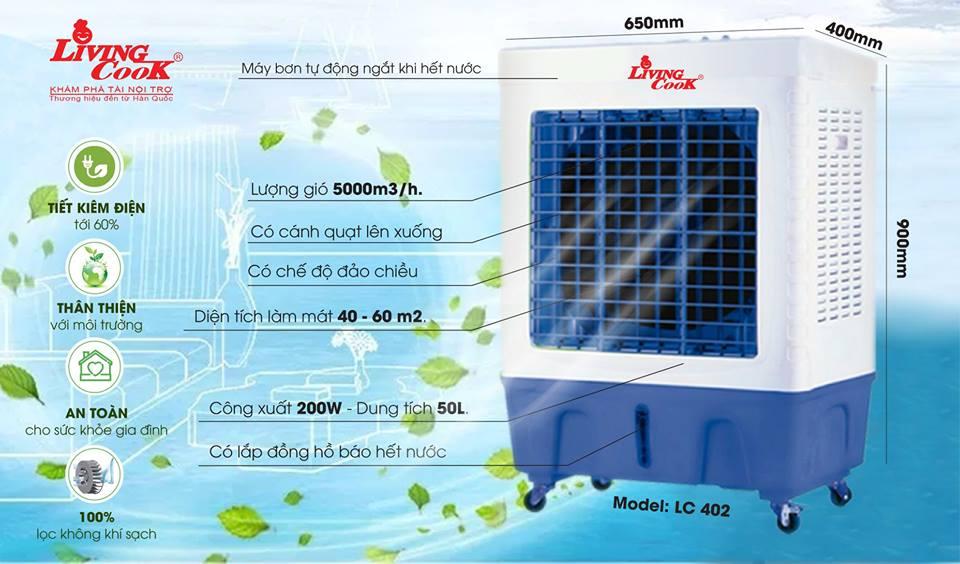 Quạt điều hòa hơi nước Livingcook LC-402