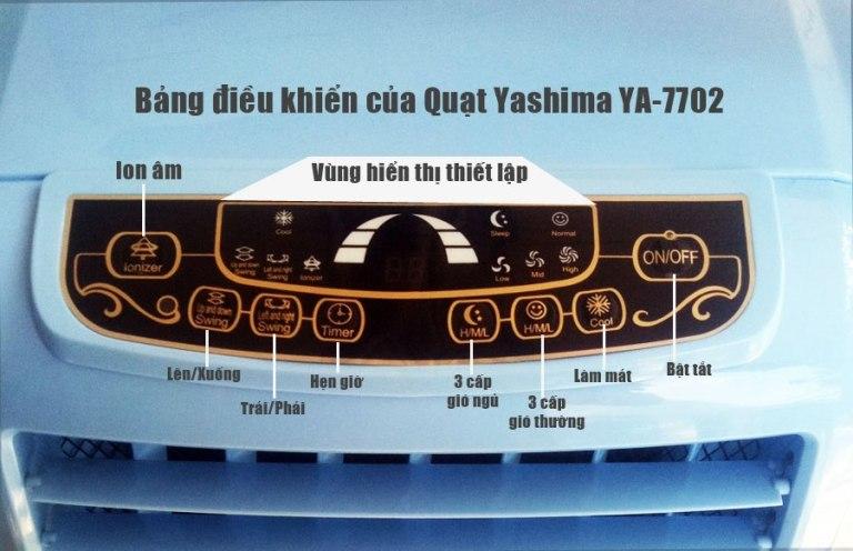 bảng điều khiển của quạt yashima ya-7702