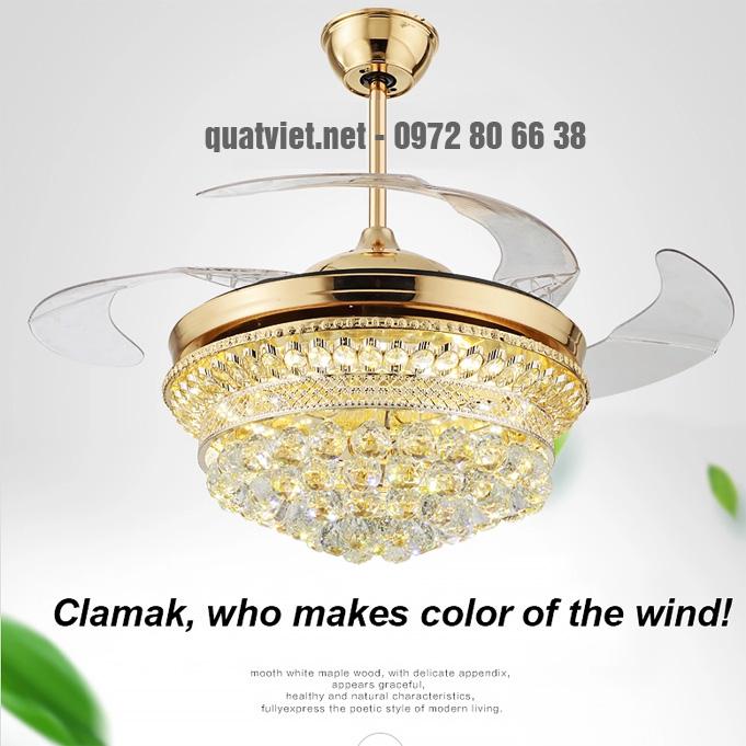 Quạt trần đèn chùm pha lê cao cấp Breeze.lux 8668