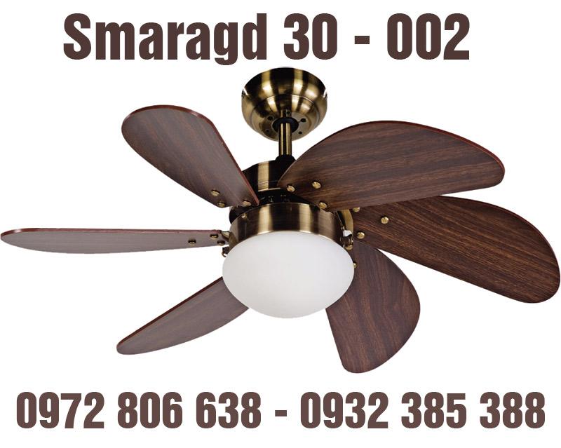 Quạt trần đèn Smaragd 30-002 6 cánh vân gỗ