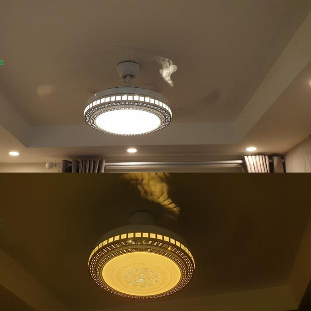 quạt trần đèn breezelux 8129 khi bật cả đèn và quạt